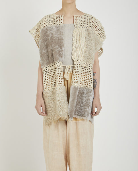 MILENA SILVANO SHEEPSKIN AND CROCHET COAT