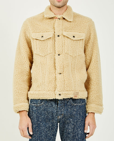 NAKED & FAMOUS SHERPA FLEECE DENIM JACKET