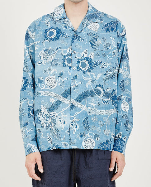 S.K. MANOR HILL SHORE SHIRT FLORAL INDIGO
