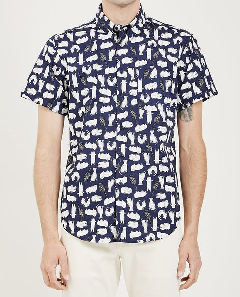 NAKED & FAMOUS SHORT SLEEVE EASY SHIRT CAT SKETCHES NAVY