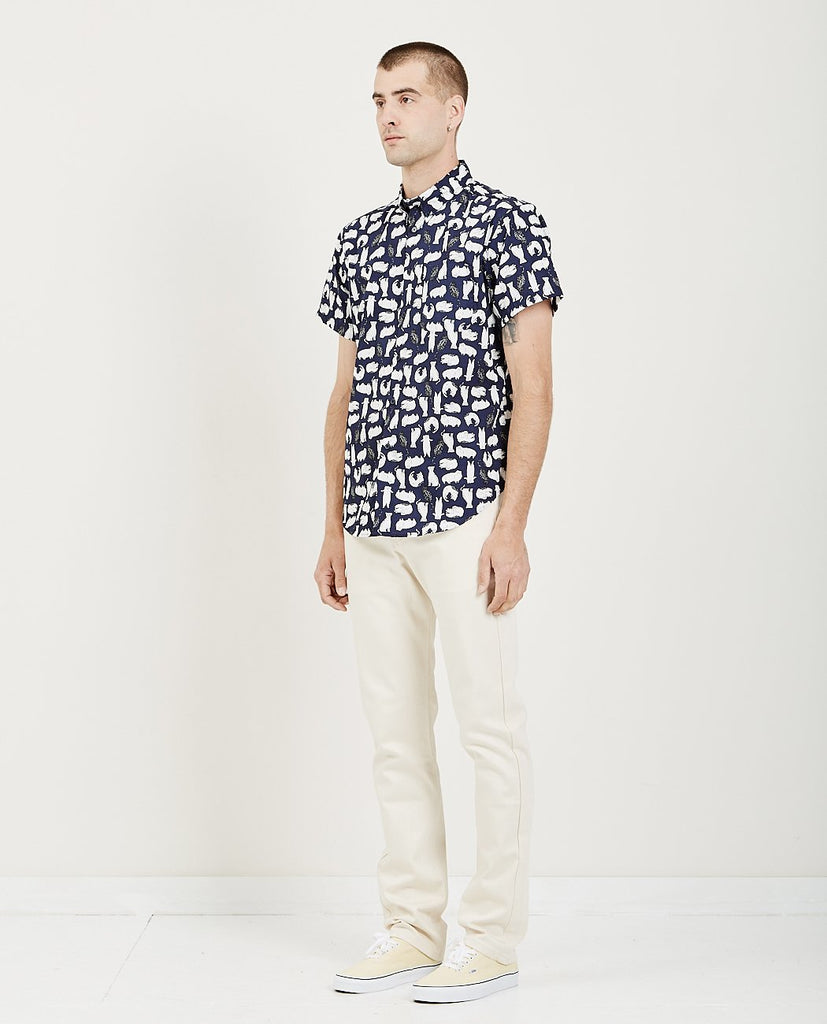 Short Sleeve Easy Shirt Cat Sketches Navy-NAKED & FAMOUS-American Rag Cie