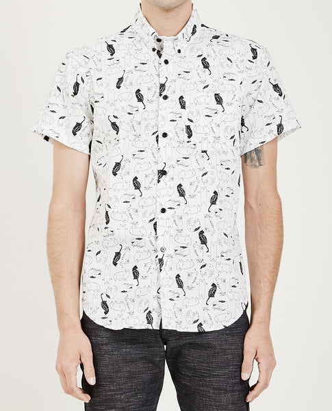 NAKED & FAMOUS SHORT SLEEVE EASY SHIRT CAT SKETCHES WHITE