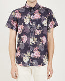 SHORT SLEEVE EASY SHIRT FLOWERS PAINTING NAVY-NAKED & FAMOUS-American Rag Cie