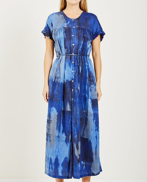 RAQUEL ALLEGRA SILK COTTON TIE DYE POET DRESS