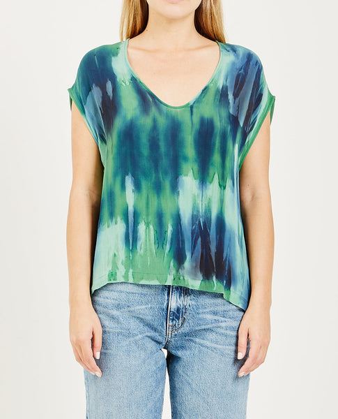RAQUEL ALLEGRA SILK COTTON TIE DYE SHELL TOP