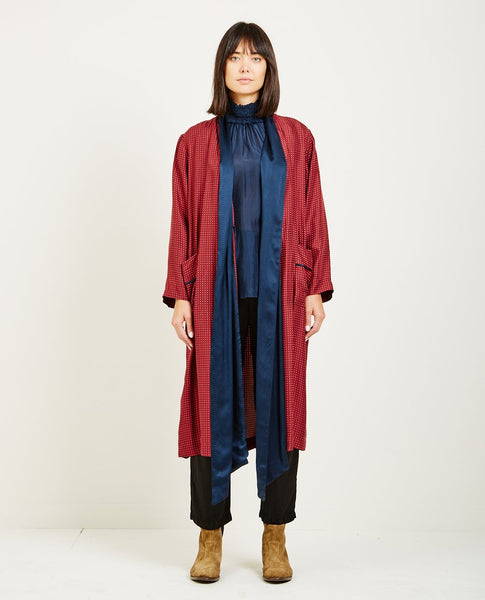 RAQUEL ALLEGRA SILK FOULARD WRAP TRENCH DRESS