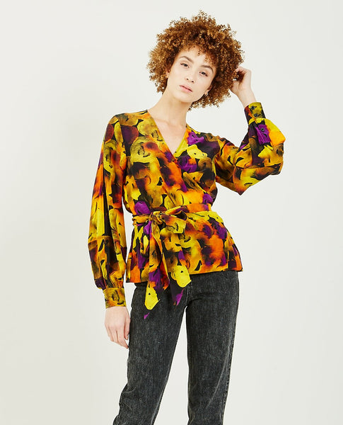 GANNI Silk Mix Wrap Blouse