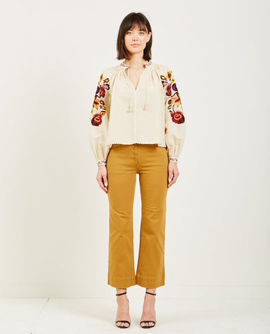 TROVATA SADIE EMBELLISHED PLACKET SHIRT ANTIQUE WHITE