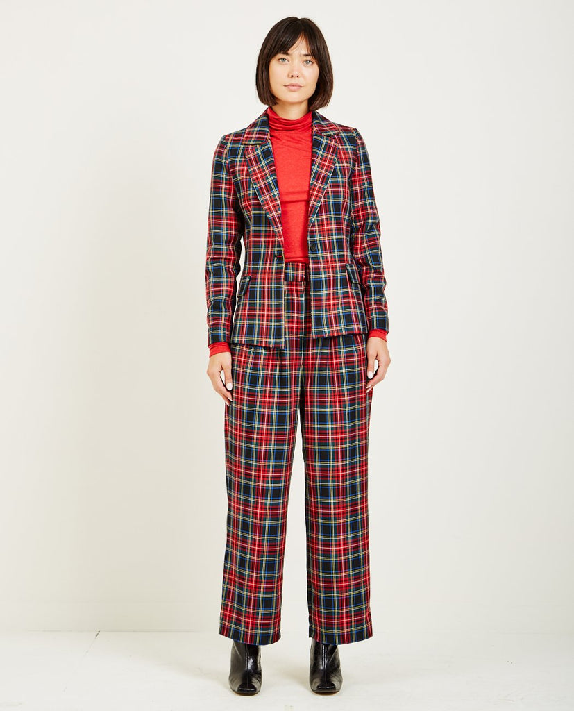 SINCLAIR BLAZER RED CHECK-JUST FEMALE-American Rag Cie