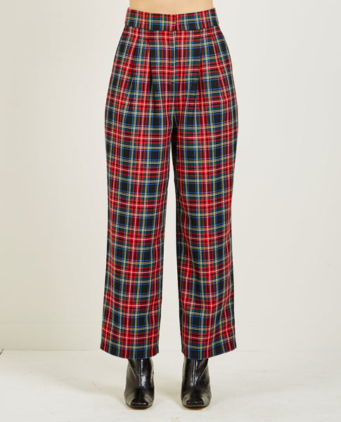 JUST FEMALE SINCLAIR TROUSER RED CHECK