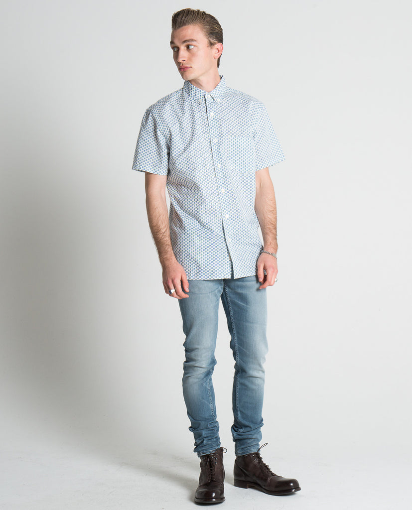 SLIM BUTTON DOWN SHORT SLEEVE SHIRT-KATO-American Rag Cie