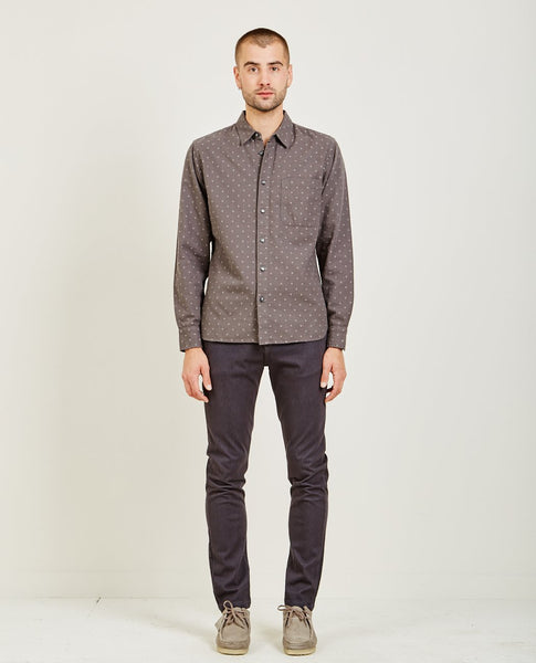 KATO SLIM FRENCH SEAM DOT SHIRT GREY