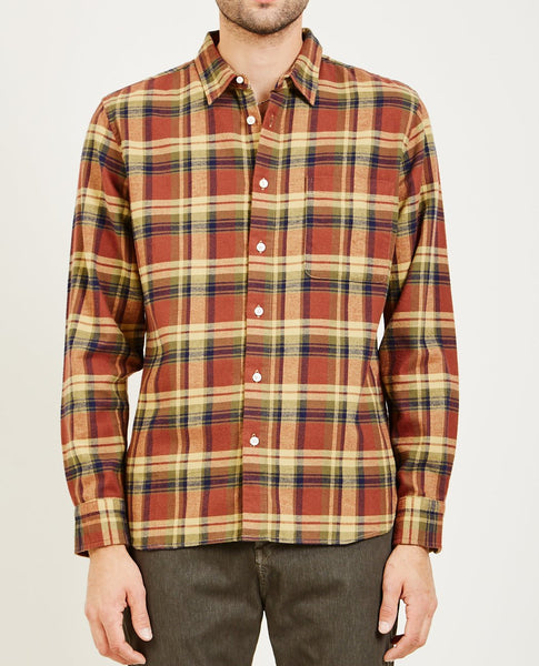 KATO SLIM FRENCH SEAM FLANNEL SHIRT BROWN PLAID