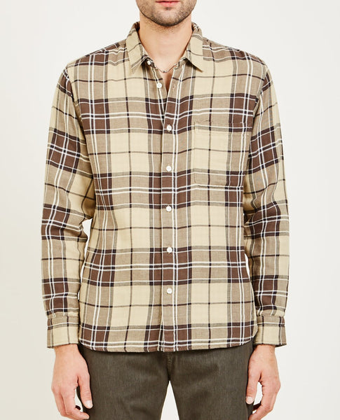 KATO SLIM FRENCH SEAM GAUZE SHIRT BROWN