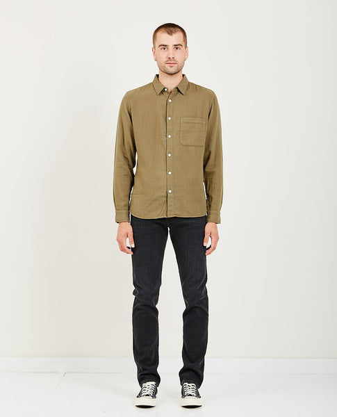 KATO SLIM FRENCH SEAM L/S DOUBLE GAUZE MILITARY GREEN