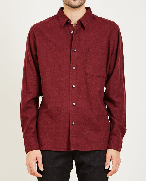 KATO SLIM FRENCH SEAM SHIRT BRUSHED BORDEAUX