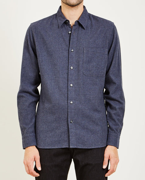 KATO SLIM FRENCH SEAM SHIRT BRUSHED CHARCOAL
