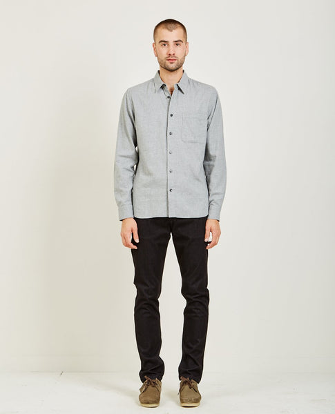 KATO SLIM FRENCH SEAM SHIRT BRUSHED LIGHT GREY