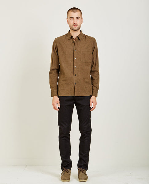 KATO SLIM FRENCH SEAM SHIRT BRUSHED MILITARY GREEN
