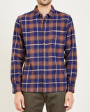 KATO-SLIM FRENCH SEAM SHIRT VINTAGE PLAID BLUE-Men Shirts-{option1]