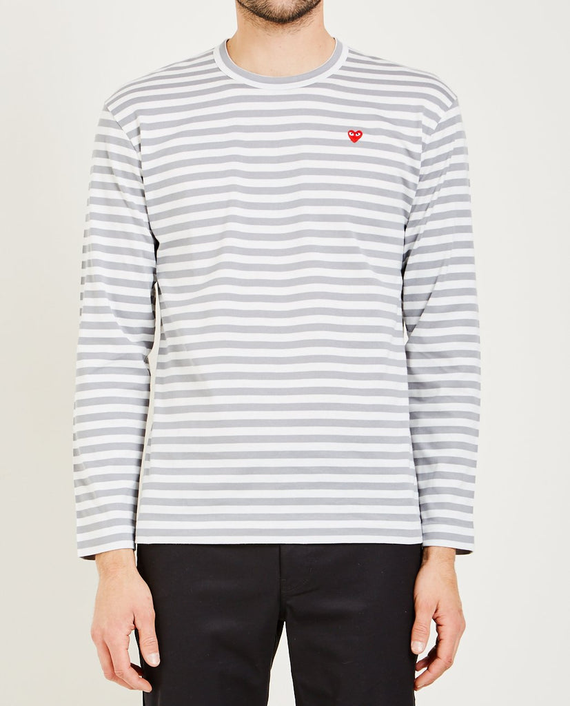 SMALL RED HEART STRIPED TEE-COMME DES GARÇONS PLAY-American Rag Cie