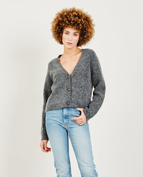 GANNI Soft Wool Knit Cardigan Ebony