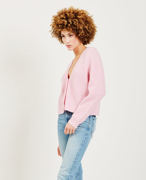 GANNI Soft Wool Knit Cardigan Lilac