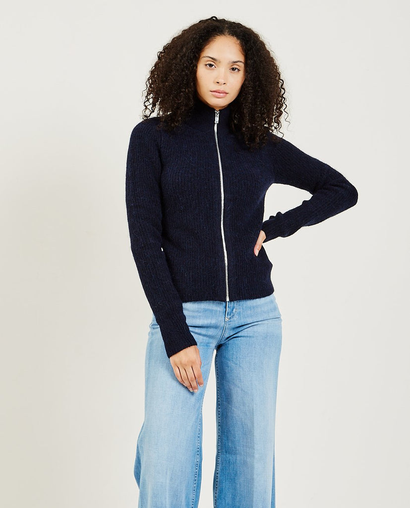 GANNI-Soft Wool Knit Zip Cardigan-Women Sweaters + Sweatshirts-{option1]