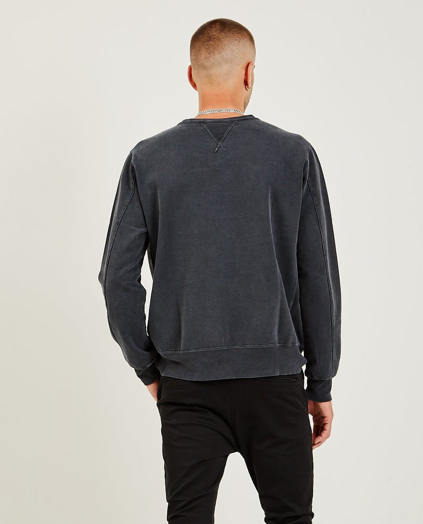 REMI RELIEF-Special Finish Fleece Crew Black-Men Sweaters + Sweatshirts-{option1]