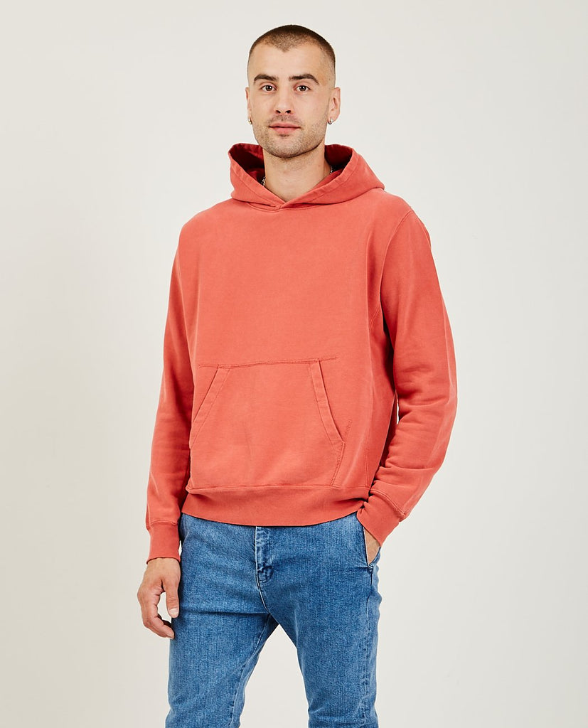 REMI RELIEF-Special Finish Fleece Hoodie Orange Red-Men Sweaters + Sweatshirts-{option1]
