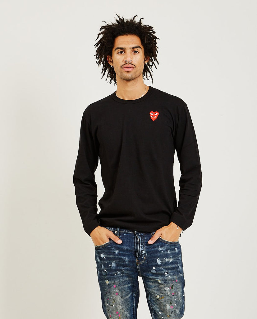 Stacked Red Heart Long Sleeve Tee-COMME DES GARÇONS PLAY-American Rag Cie