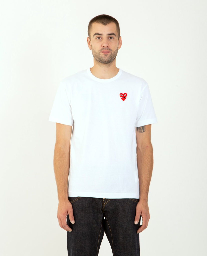 Stacked Red Heart Tee White-COMME DES GARÇONS PLAY-American Rag Cie