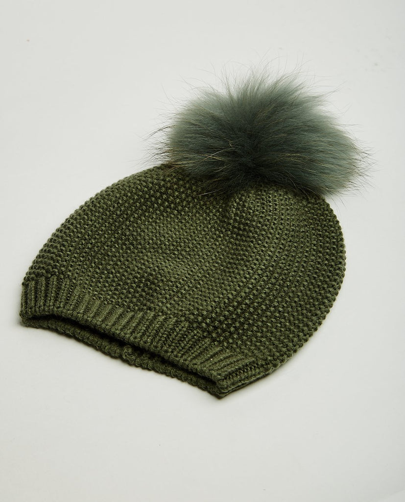 NATURES COLLECTION-Stella Pom Pom Beanie-Women Hats & Scarves-{option1]