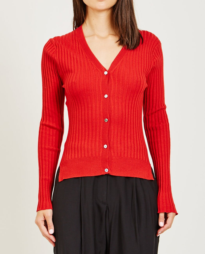TRIAA-STRETCH RIB KNIT CARDIGAN-Women Sweaters + Sweatshirts-{option1]