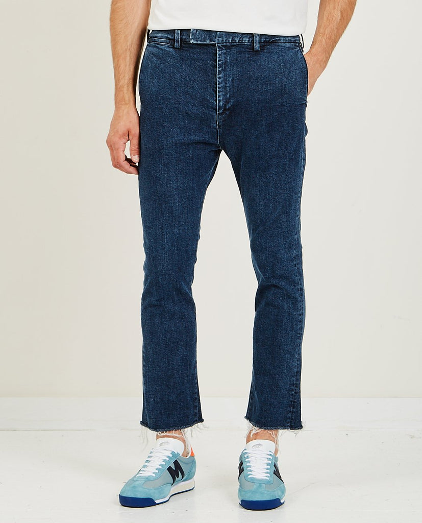 REMI RELIEF-Stretched Denim Bootcut Dark Blue-Men Pants-{option1]