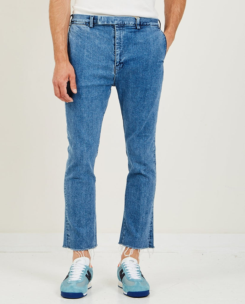 REMI RELIEF-Stretched Denim Bootcut Used Blue-Men Pants-{option1]