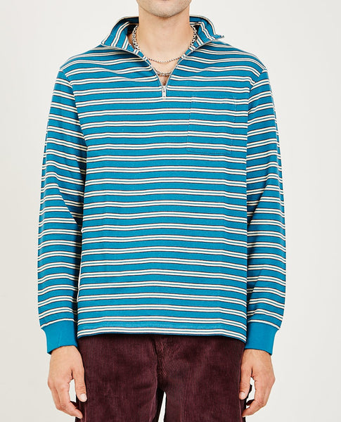 TRES BIEN STRIPE HALF ZIP SWEATER