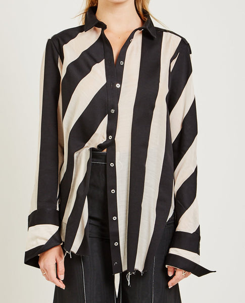 MARQUES ' ALMEIDA STRIPE VOILE LOOSE SHIRT
