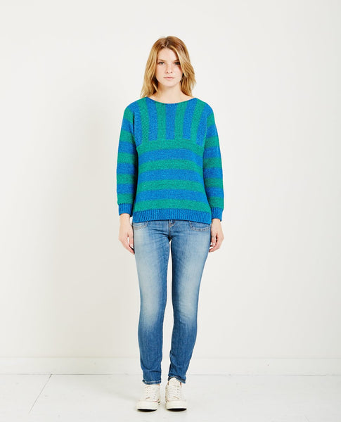 CLOSED STRIPED KNIT SWEATER EMERALD