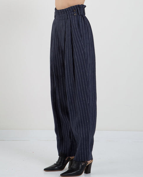 MIJEONG PARK STRIPED LINEN PEG LEG PANTS