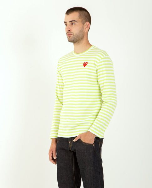 COMME DES GARÇONS PLAY Striped Long Sleeve Heart Tee