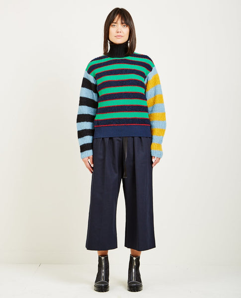 KENZO STRIPED MOHAIR BOXY SWEATER