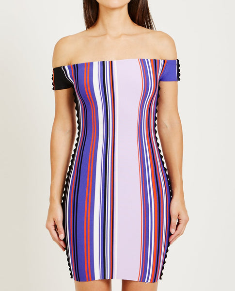 OPENING CEREMONY STRIPED OFF THE SHOULDER DRESS