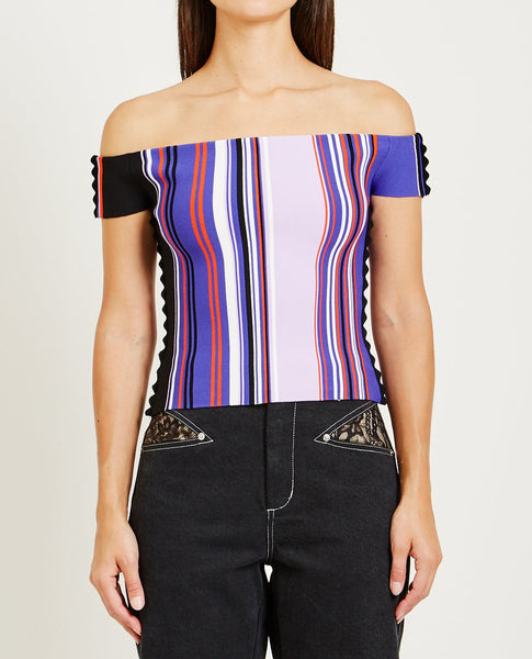 OPENING CEREMONY STRIPED OFF THE SHOULDER TOP