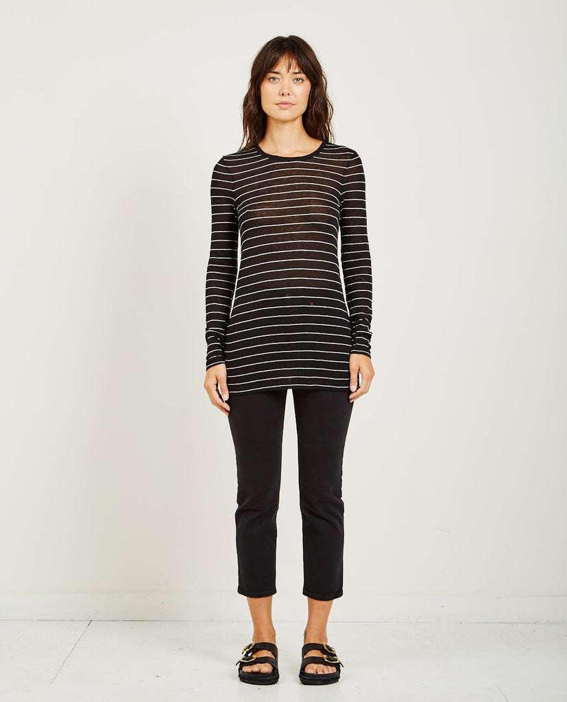 T BY ALEXANDER WANG STRIPED SLUB JERSEY L/S TEE