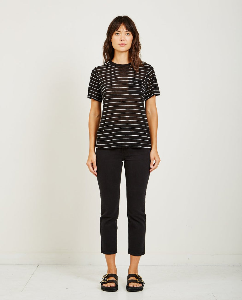 T BY ALEXANDER WANG STRIPED SLUB JERSEY S/S TEE