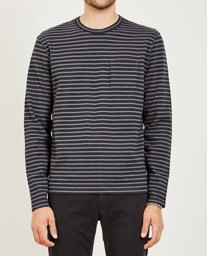 STRIPED SUEDED JERSEY LS CREW-ALEX MILL-American Rag Cie