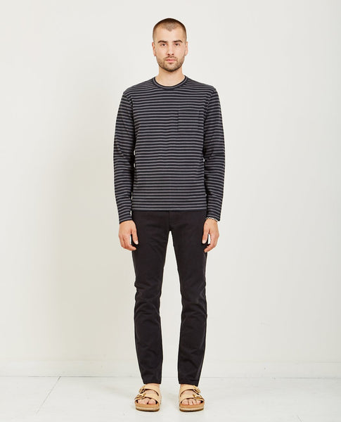 ALEX MILL STRIPED SUEDED JERSEY LS CREW