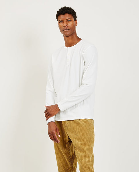 ALEX MILL Sueded Jersey Henley White