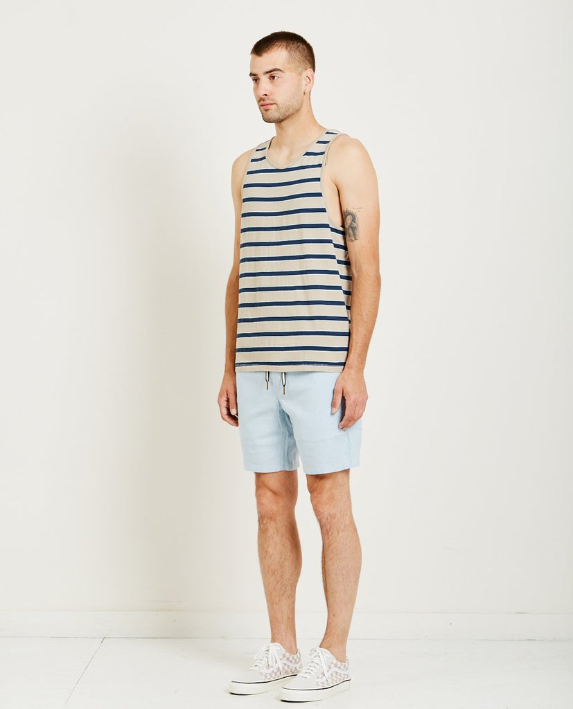 BARNEY COOLS-SUMMER TANK BEIGE STRIPE-Men Tees + Tanks-{option1]